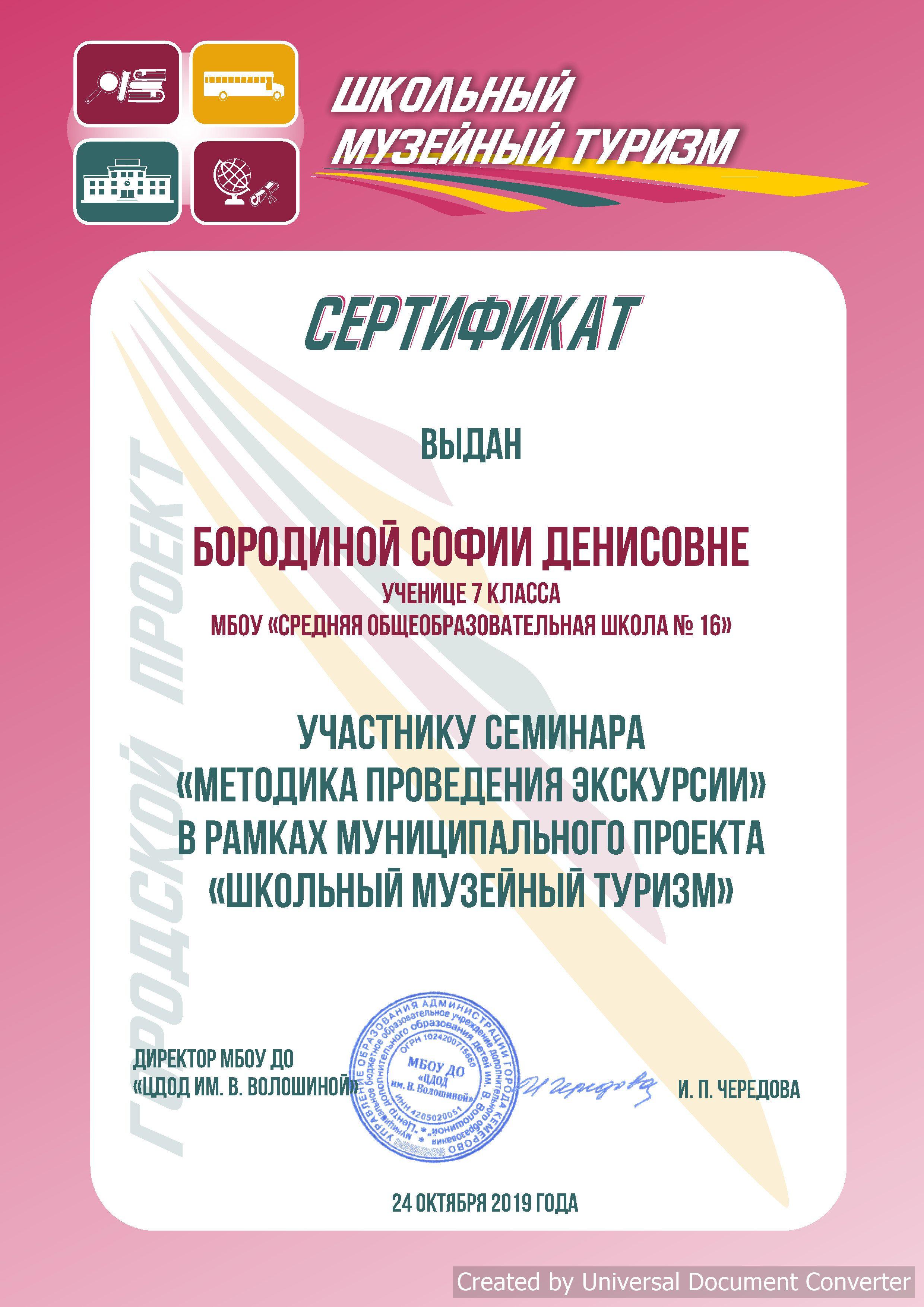 Сертификат Бородиной Софии