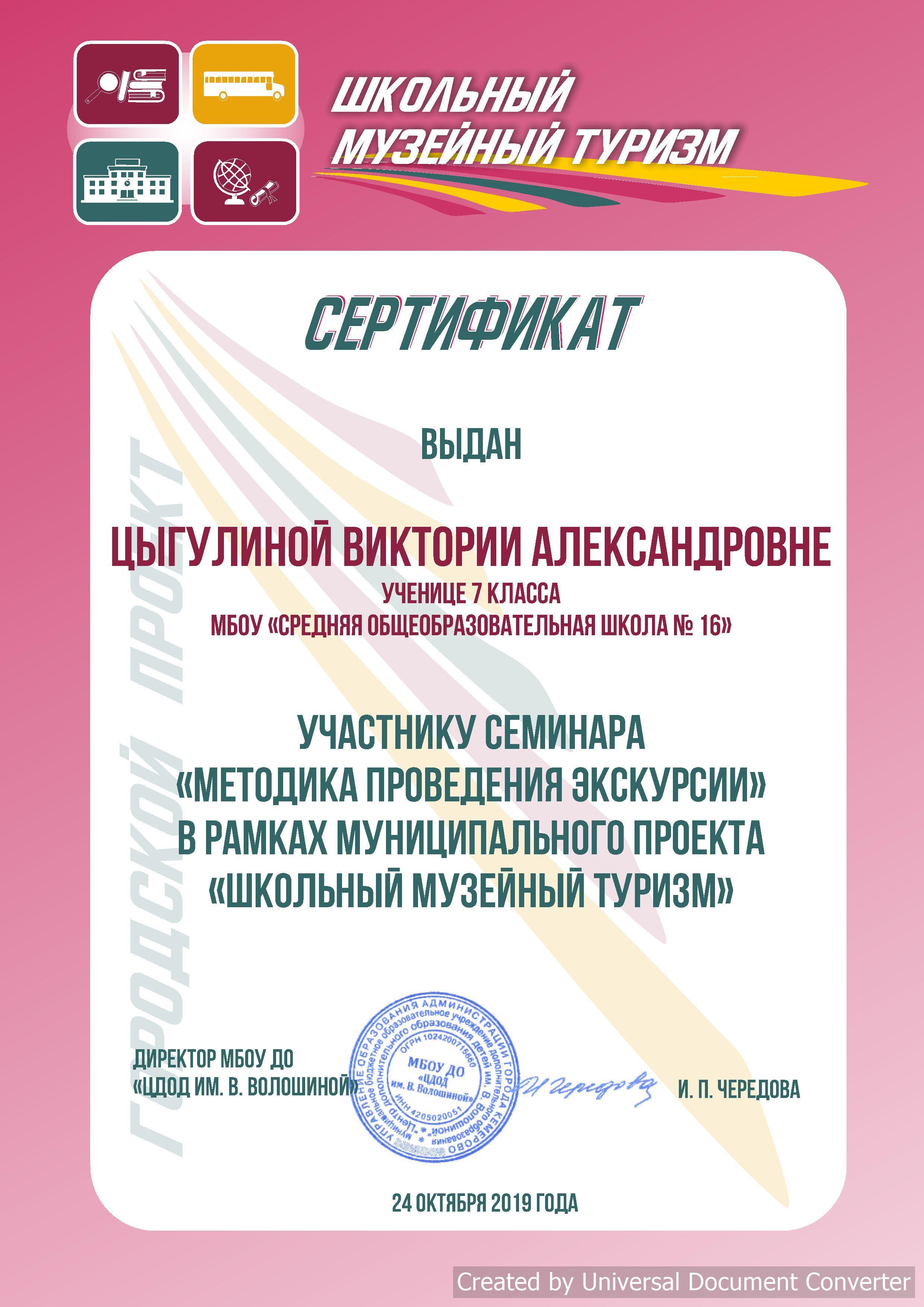 Сертификат Цыгулиной В.