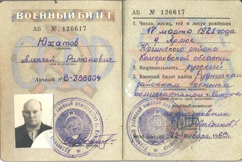 Юхатов А.Р. Военный билет